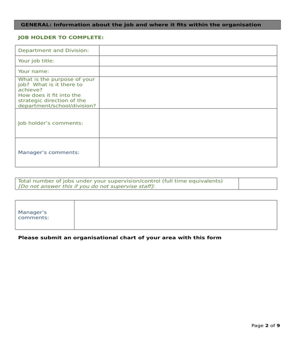 job analysis questionnaire form