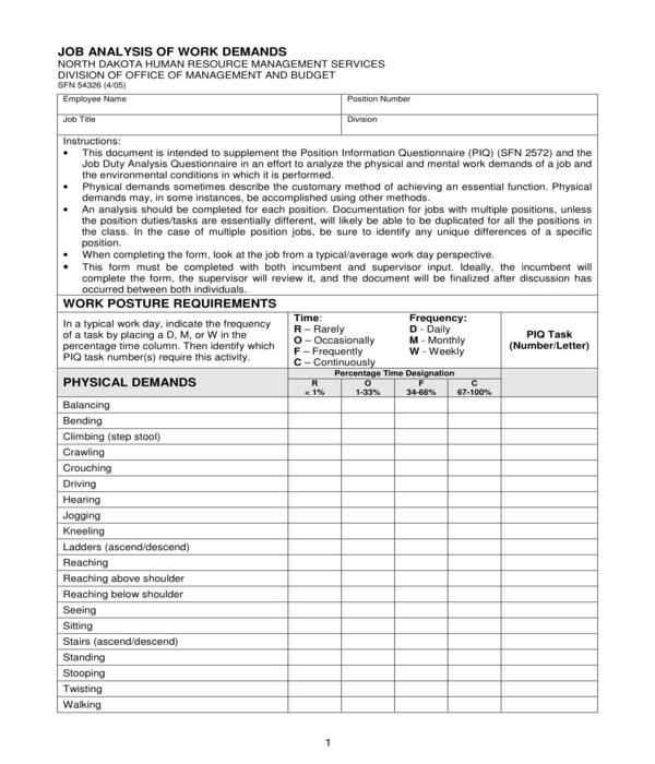 job analysis of work demands form