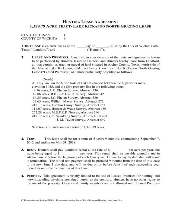 lake hunting lease agreement form