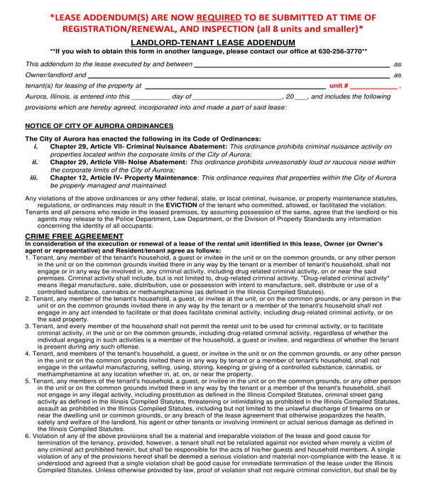 landlord tenant lease addendum form