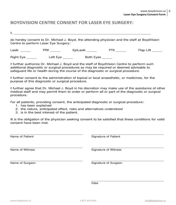 laser eye surgery consent form