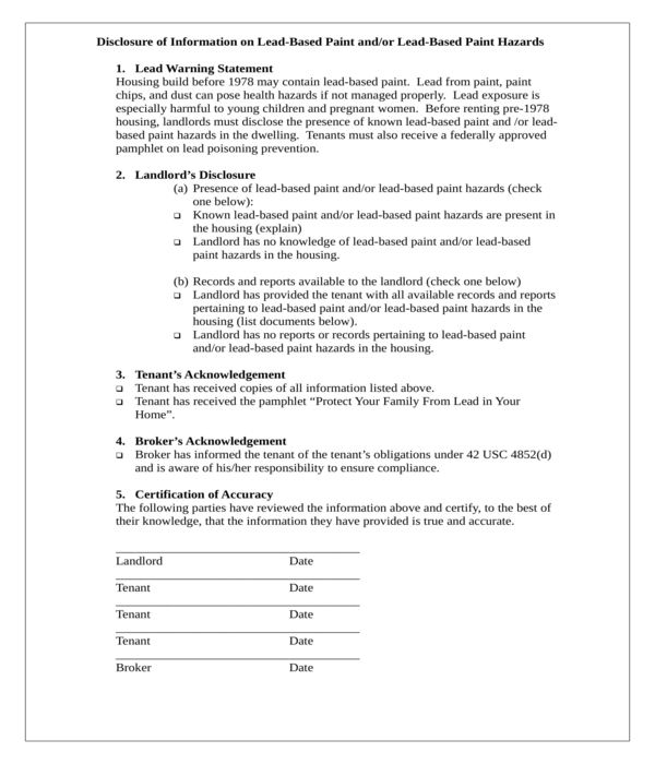 lead based paint disclosure form in doc