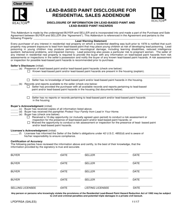 lead based paint disclosure residential sales addendum form