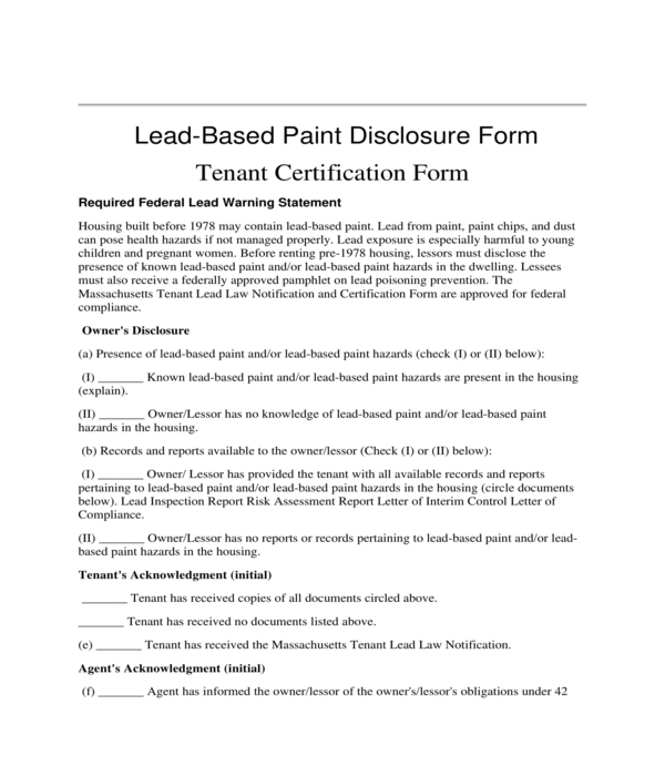 lead based paint disclosure tenant certification form