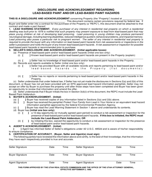 lead based paint disclosure and acknowledgment form