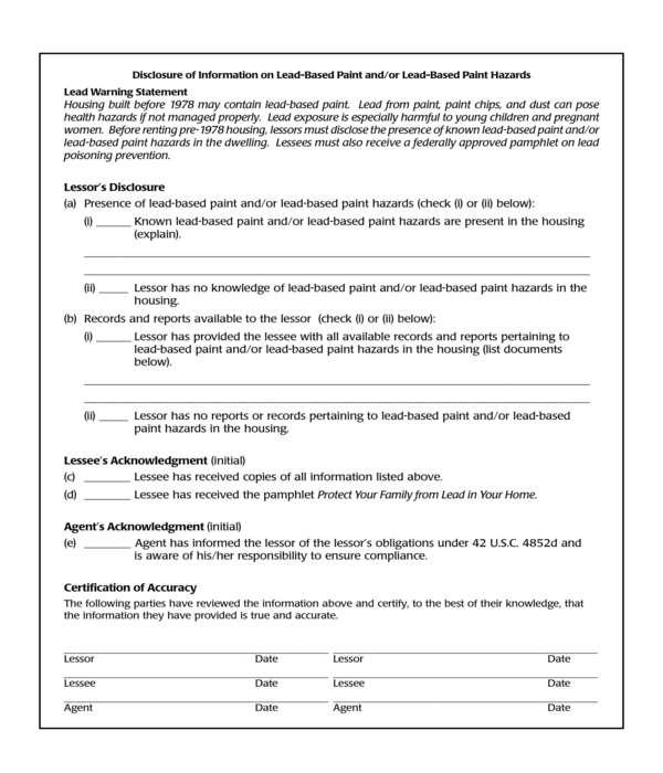 lead based paint information disclosure form