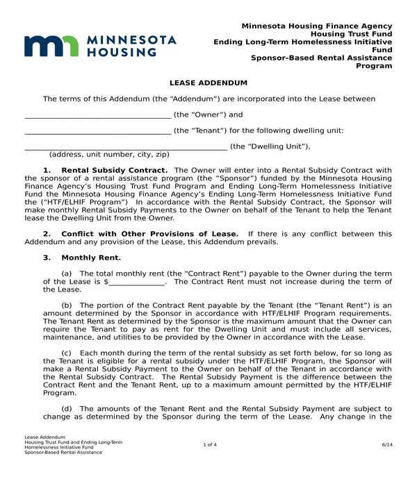 lease addendum form sample