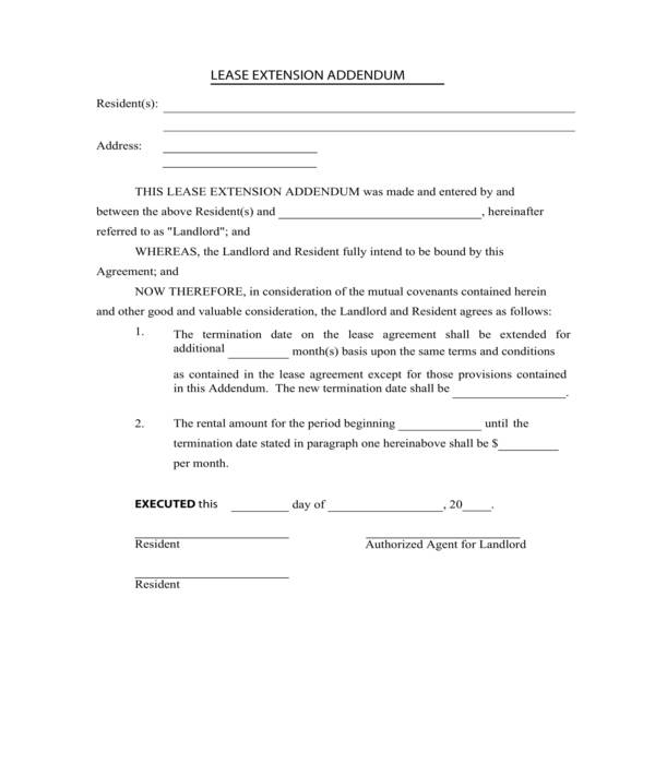 lease extension addendum form