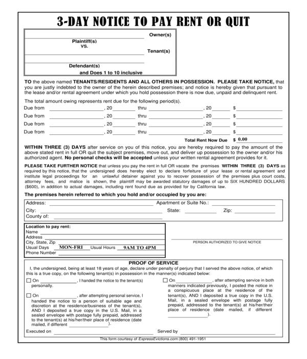 legal three day notice to pay or quit form