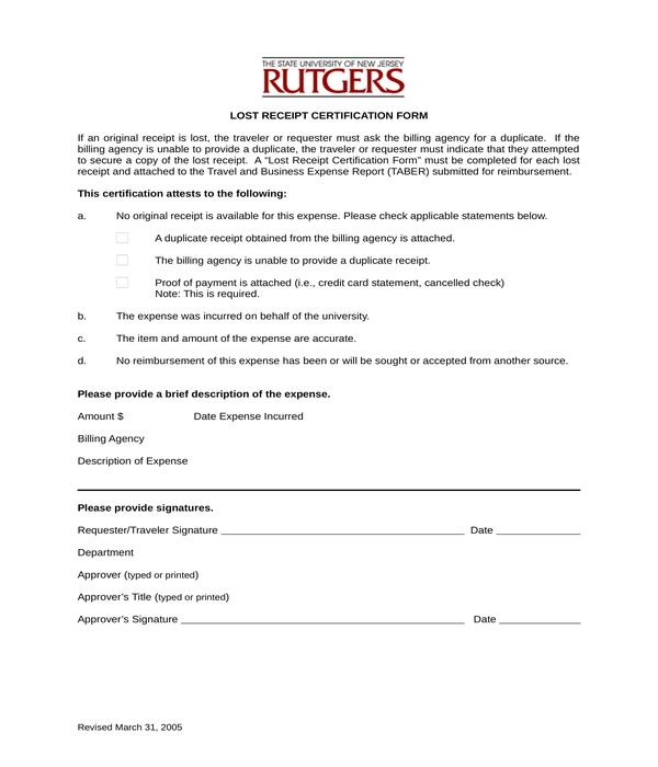 lost receipt certification form