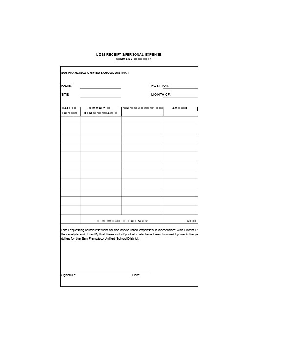 lost receipt expense form