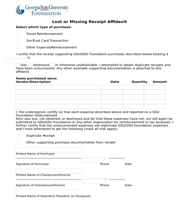 lost receipt form sample