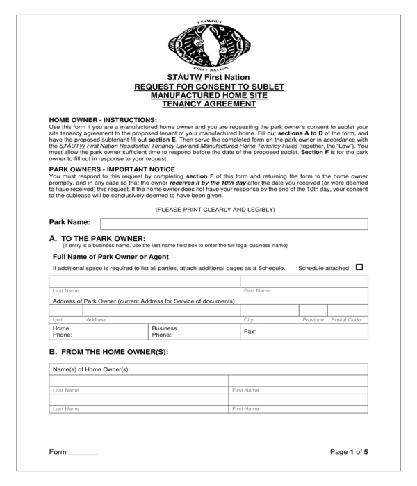 manufactured home site sublease consent request form
