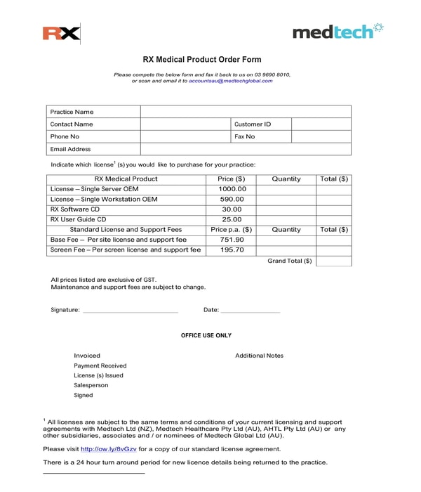 medical product order form