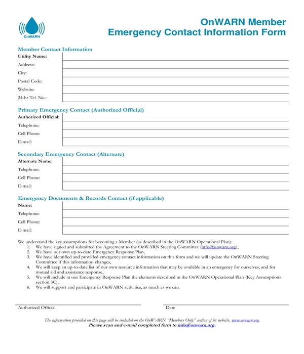 member emergency contact information form