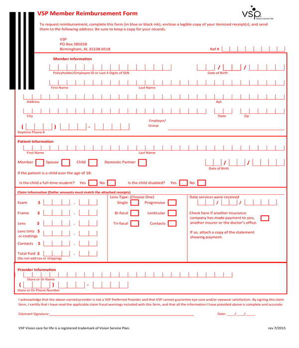 member reimbursement form