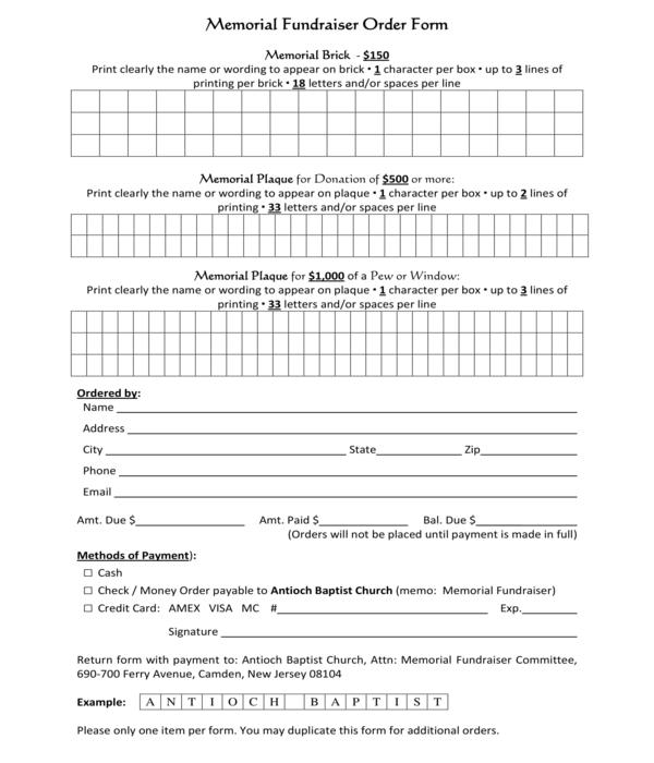 memorial fundraiser order form