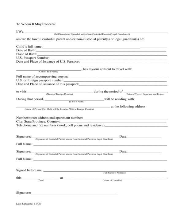 minor child travel consent letter form