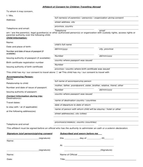 minor children travelling abroad affidavit consent form