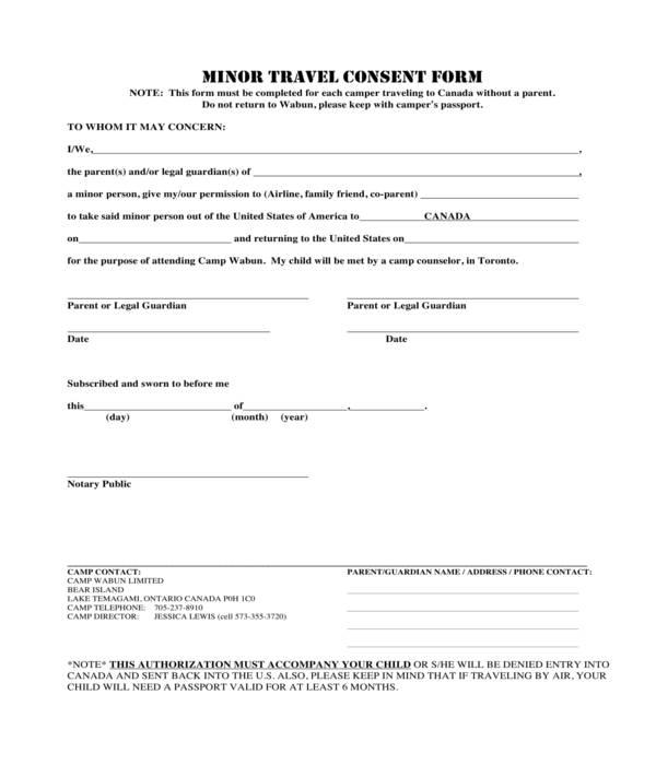 minor travel consent form sample