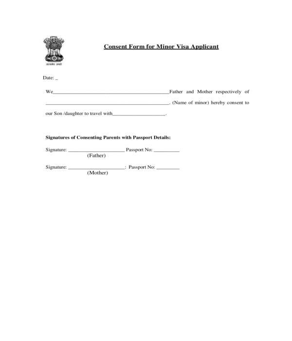 minor travel visa application consent form