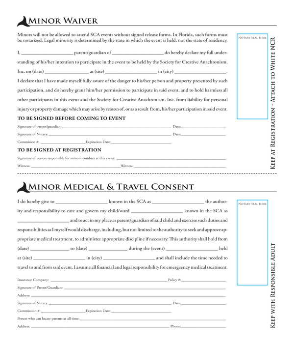minor waiver and medical travel consent form