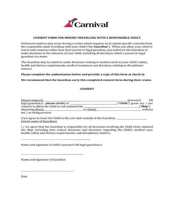 minors travelling with an adult consent form