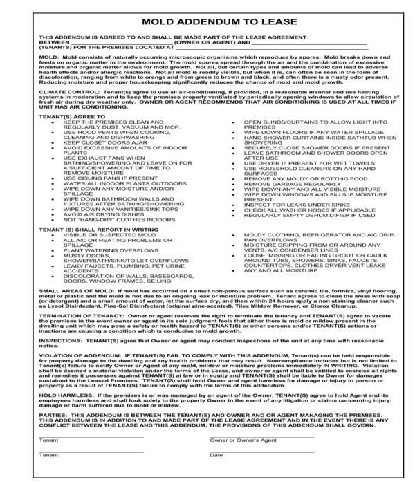 mold lease addendum form