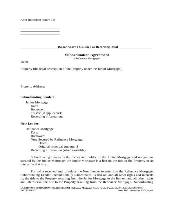 mortgage subordination agreement form