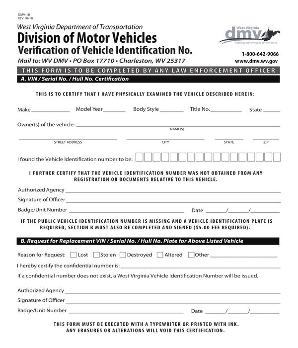 motor vehicle vin verification form