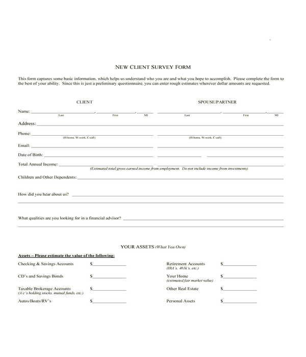 new client survey form