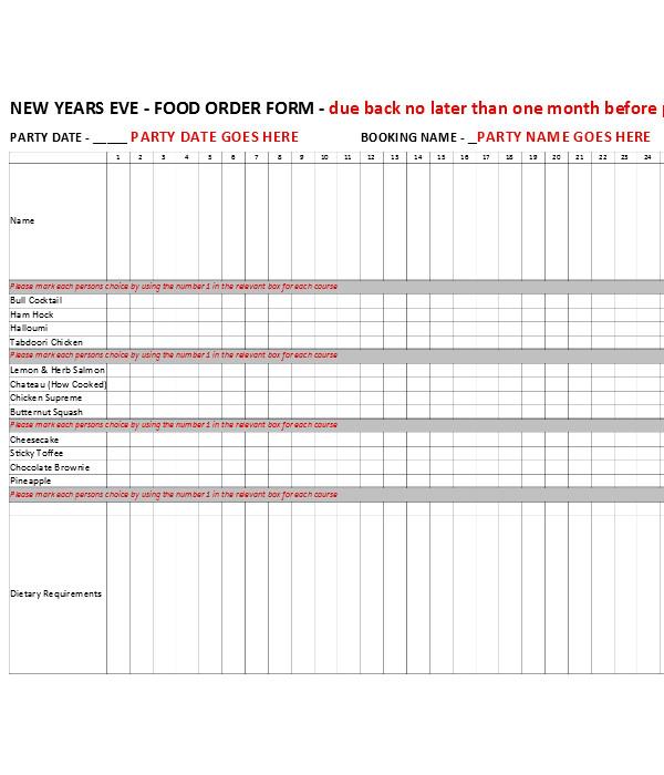 new food order form