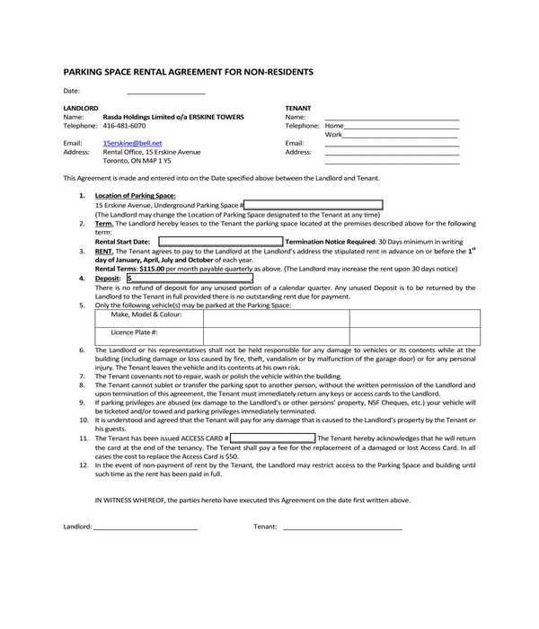 non residents parking space rental agreement form