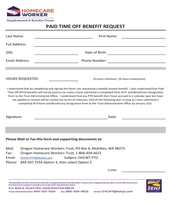 paid time off benefit request form