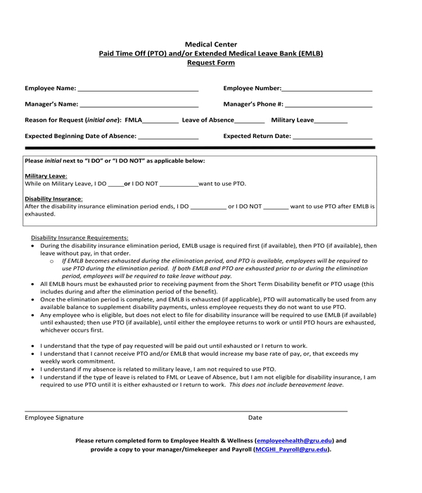 paid time off and extended leave request form