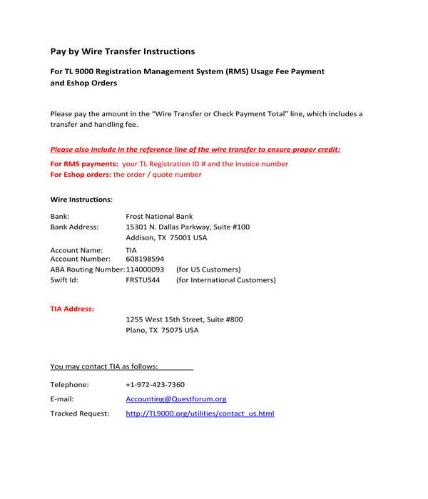 pay by wire transfer instructions form