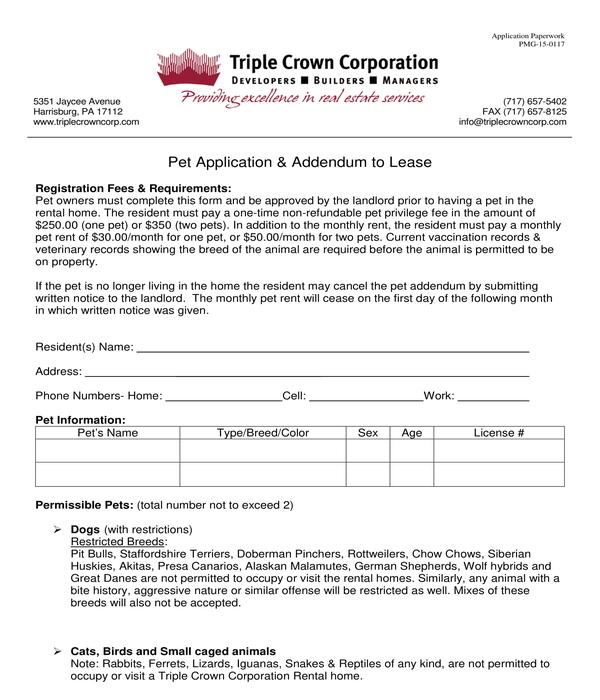 pet application and addendum form