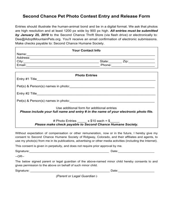 pet photo contest entry and release form