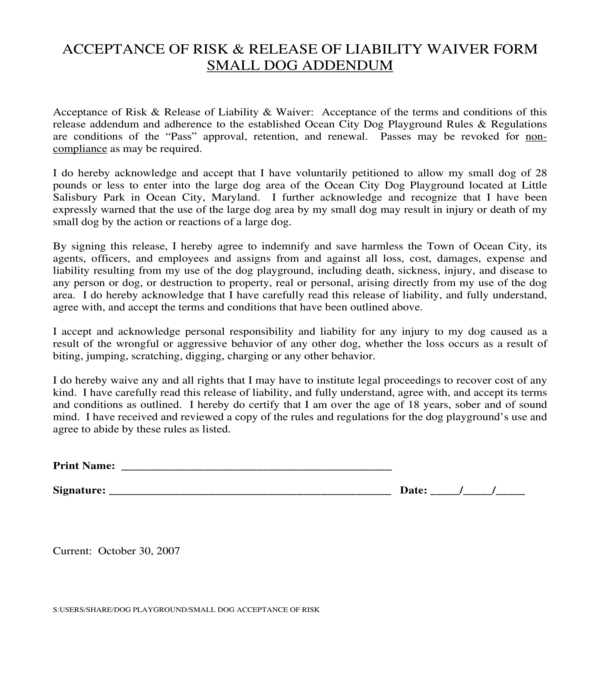 pet playground risk acceptance and waiver form