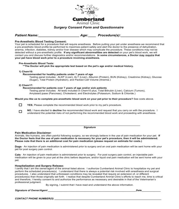 pet surgery consent form and questionnaire form