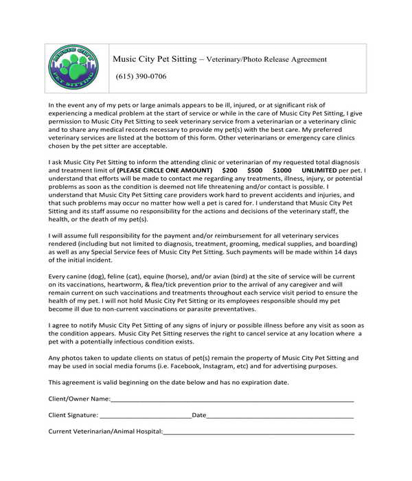 pet veterinary photo release agreement form