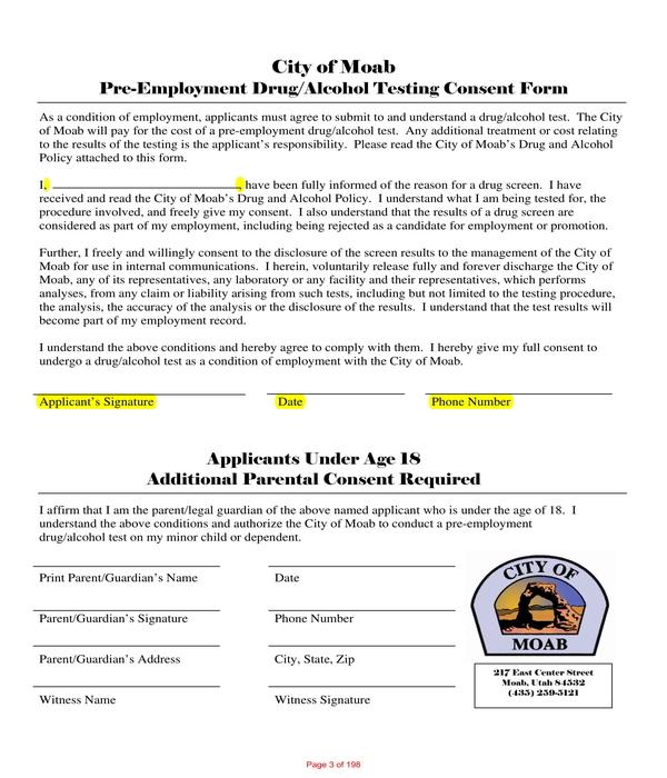 pre employment drug alcohol test consent form