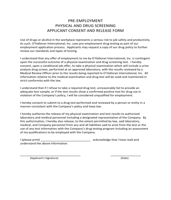 pre employment physical consent form