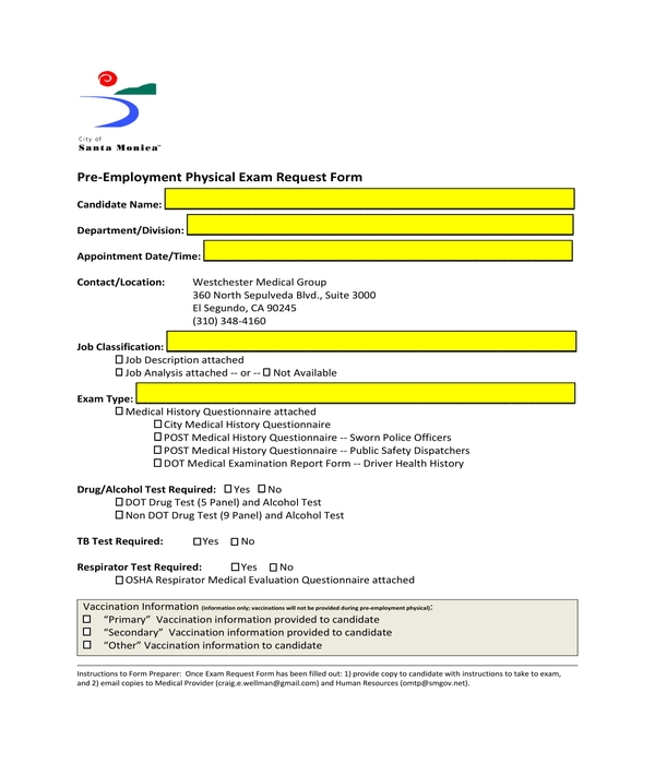 pre employment physical exam request form