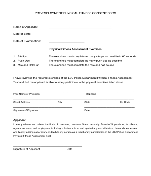 pre employment physical fitness consent form