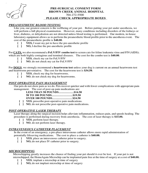 pre surgical consent form