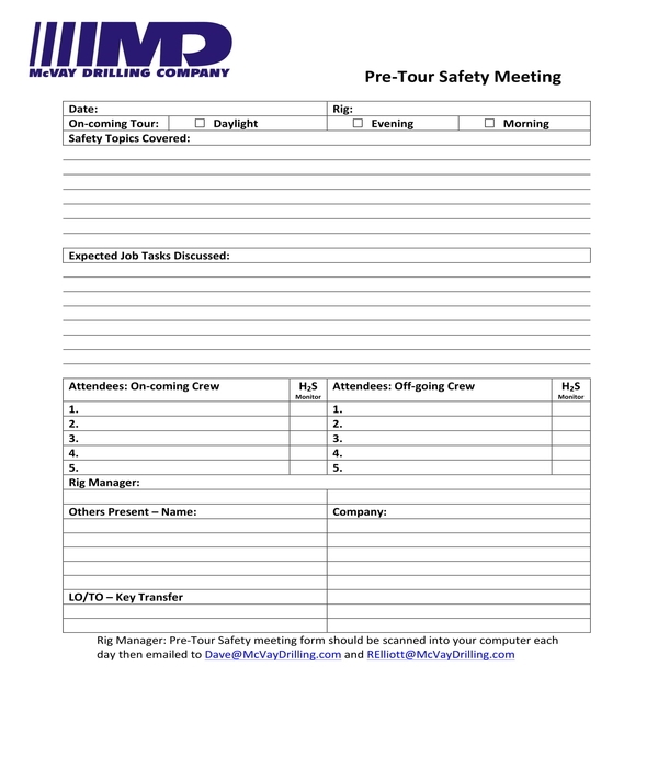 pre tour safety meeting form