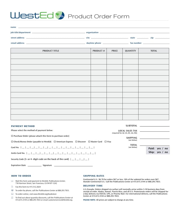 product order form sample
