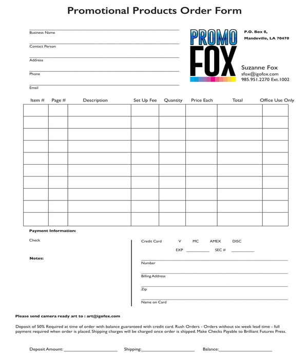 promotional products order form