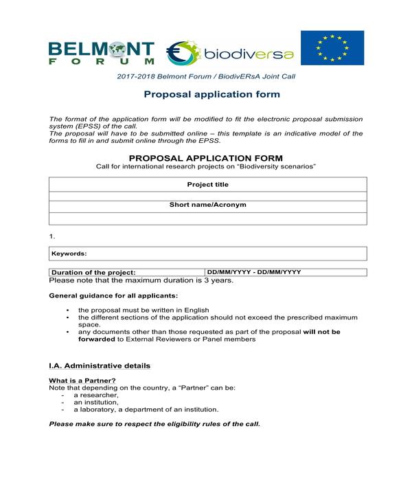 proposal application form